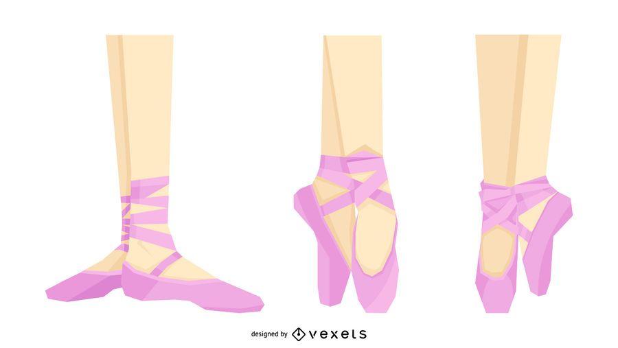 Conjunto de zapatos de bailarina rosa