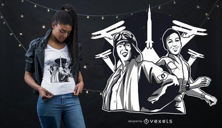 Design de t-shirt de mulher de ar