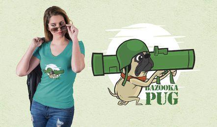 Bazooka Pug T-Shirt Design