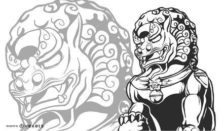 Estatua de león chino