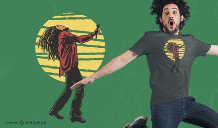 Diseño de camiseta de cantante rastafari