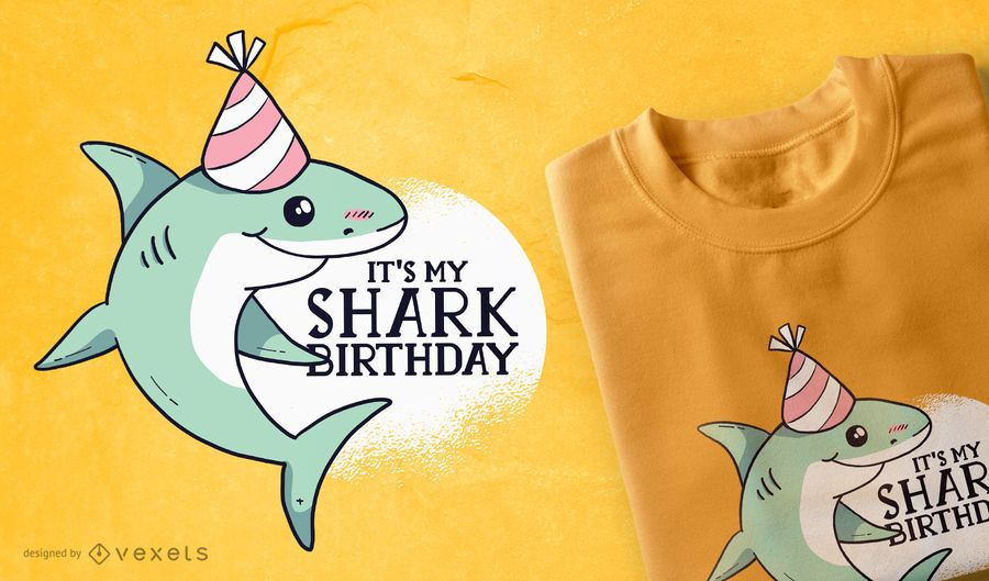 Diseño de camiseta de cumpleaños de tiburón