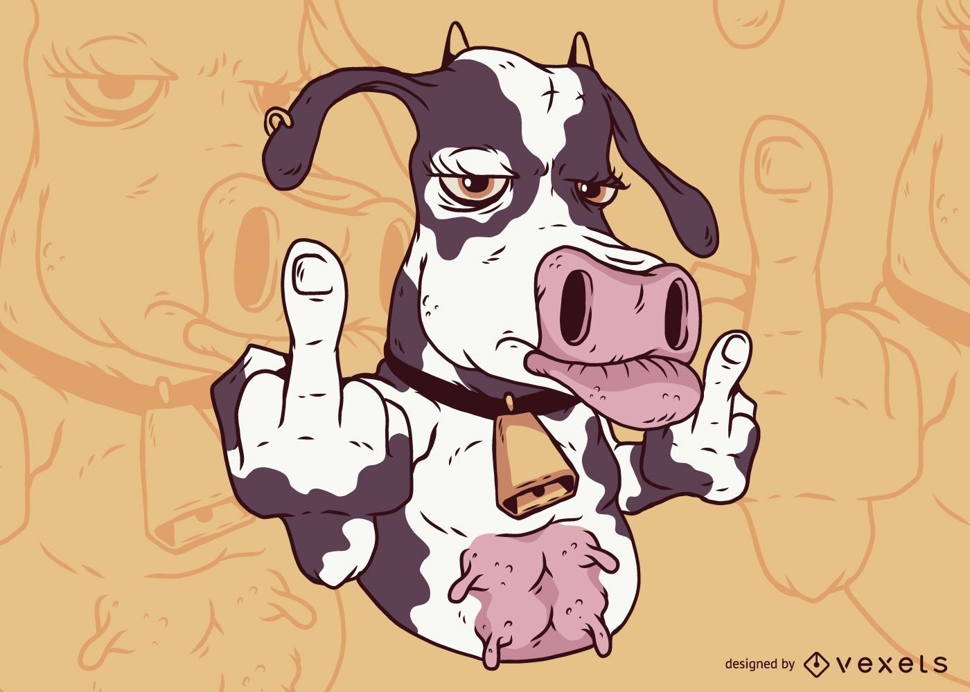 Cow Middle Finger