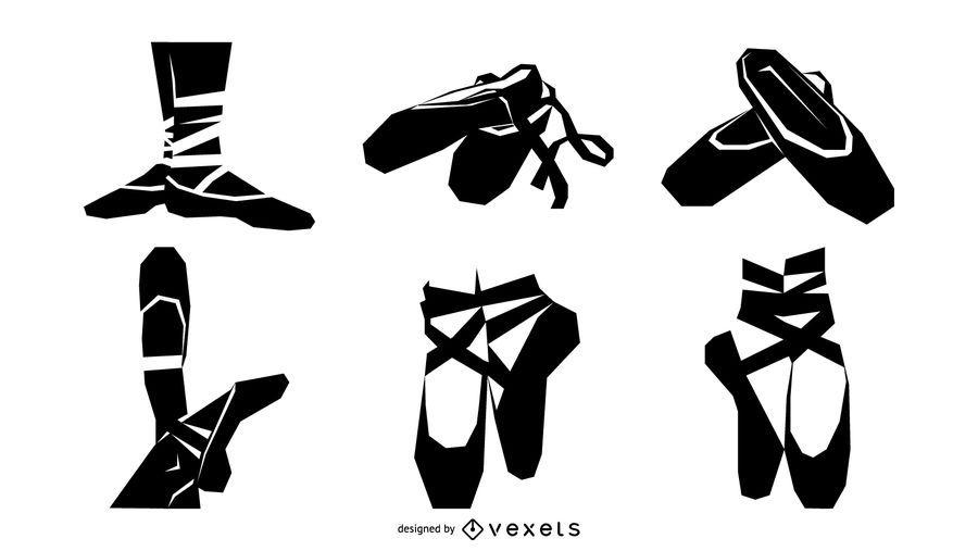 Conjunto de silueta de zapatos de ballet