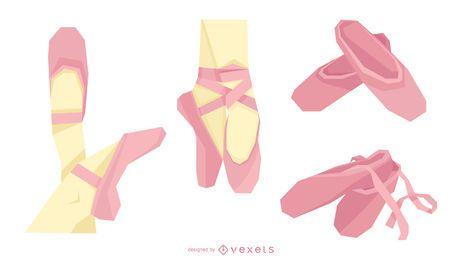Conjunto de vectores de zapatos de ballet rosa