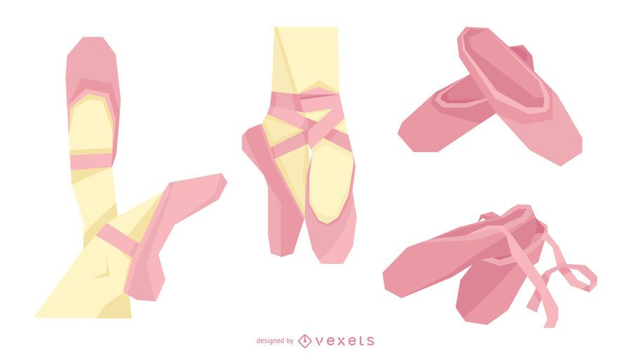 Pink Ballet Shoes Vector Set
