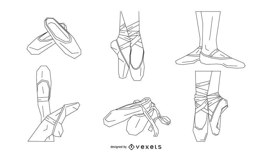 Conjunto de Stroke de sapatos de balé