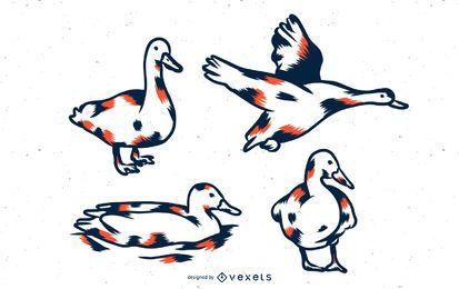 Conjunto de tons de pato