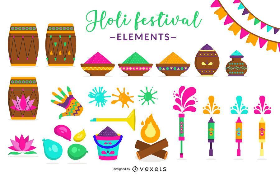 Conjunto de elementos do Holi Festival
