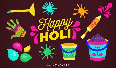 Glückliches Holi-Illustrationsdesign