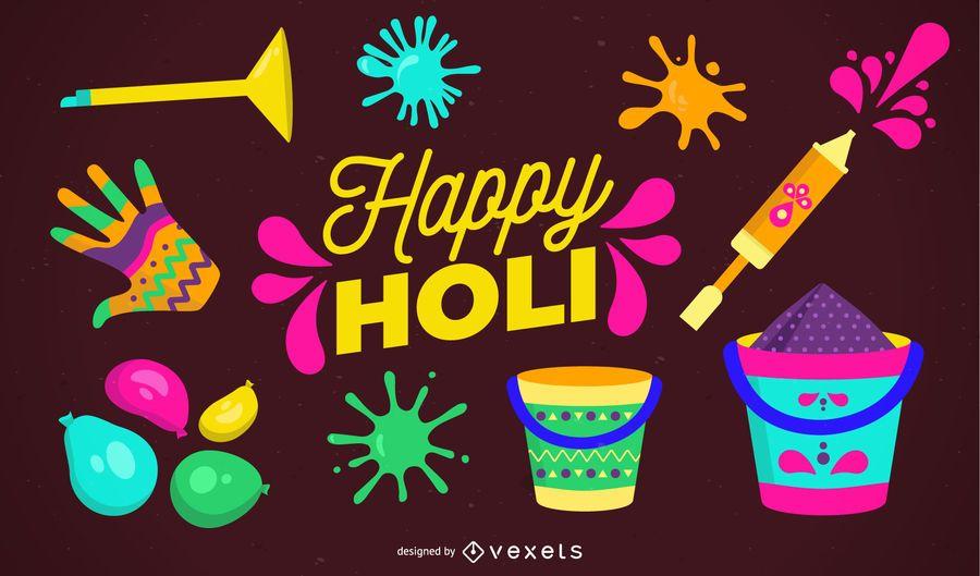 Feliz ilustração de Holi Design