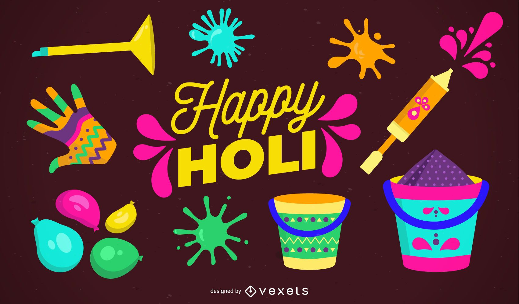 Happy Holi Illustration Design