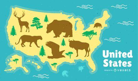 Design de mapa dos Estados Unidos