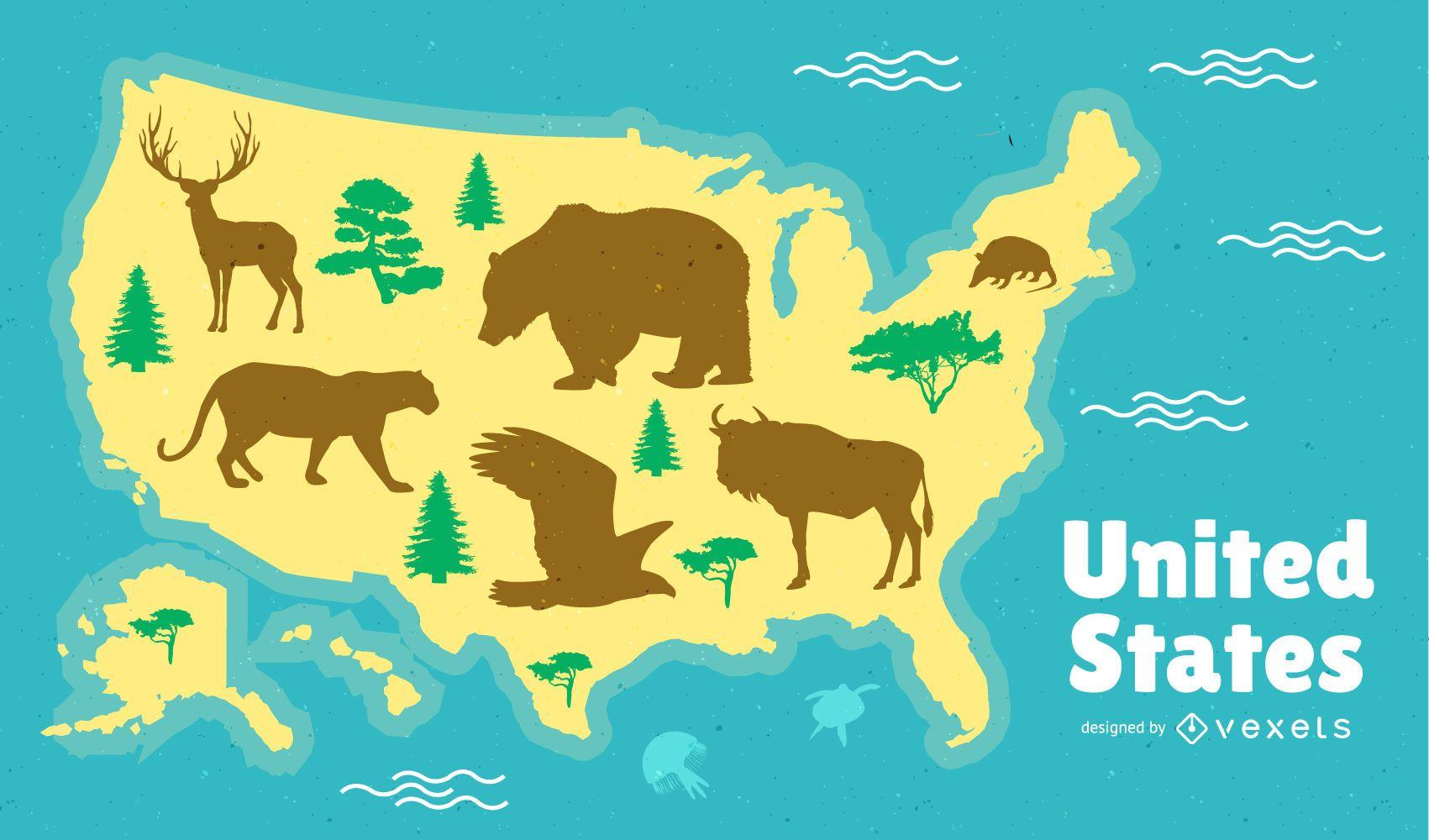 Diseño de mapa de Estados Unidos
