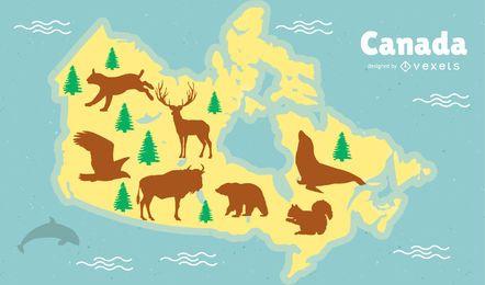 Design de mapa de animais do Canadá