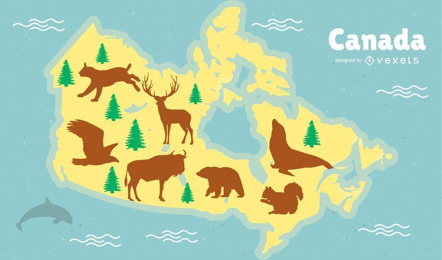 Diseño de mapa de animales de Canadá