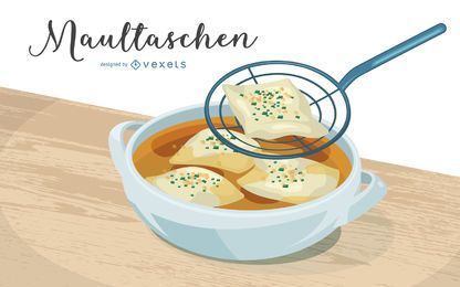Maultaschen Illustration Design