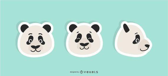 Conjunto de adesivos de panda