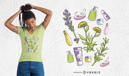 Diseño de camiseta de elementos de belleza