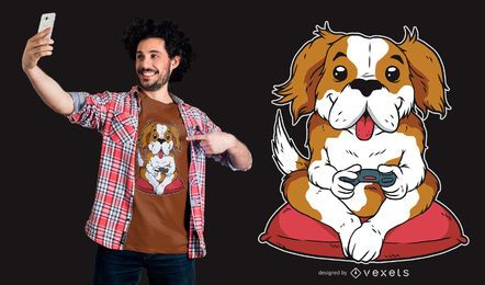 Diseño de camiseta de perro gamer