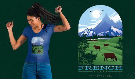 Diseño de camiseta de los Alpes franceses