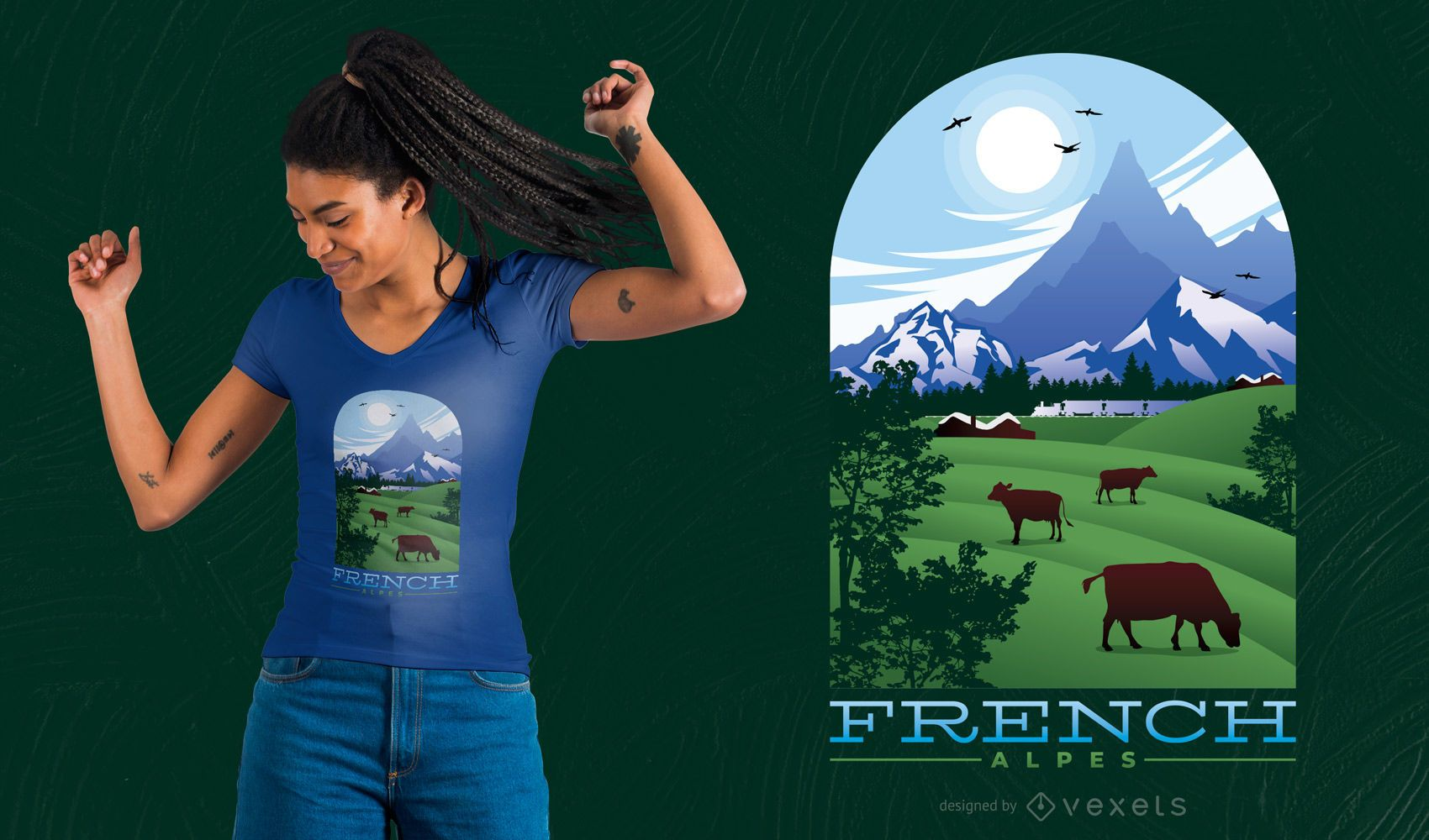 French Alpes T-Shirt Design