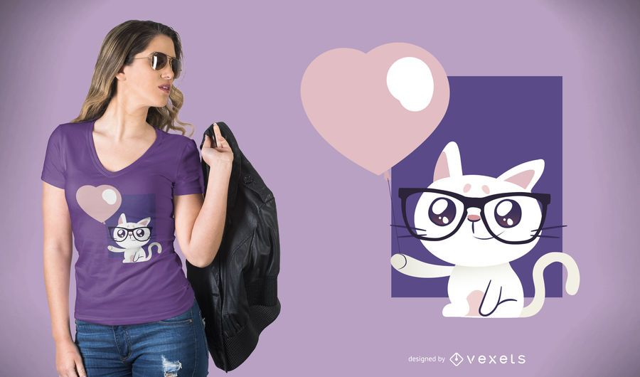 Cat with Balloon T-Shirt Design