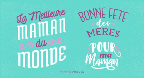 Design de letras francesas do dia das mães