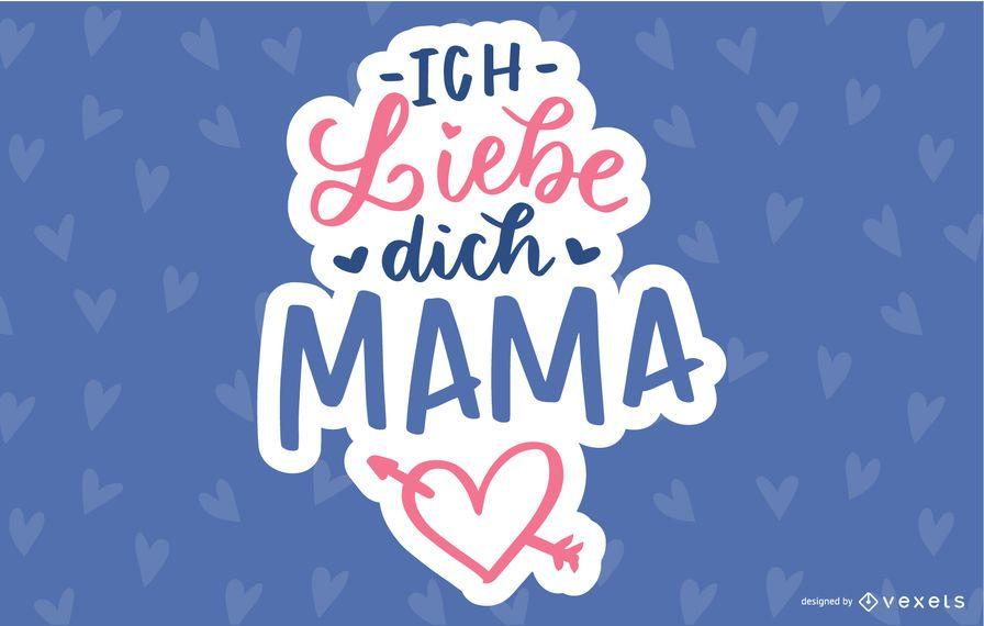 Design de letras alemão do dia das mães