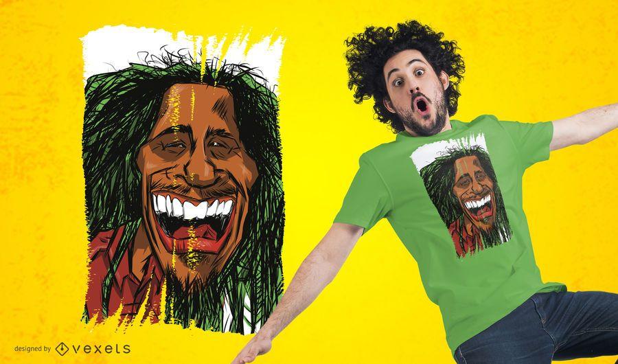 Rasta Mann Cartoon T-Shirt Design