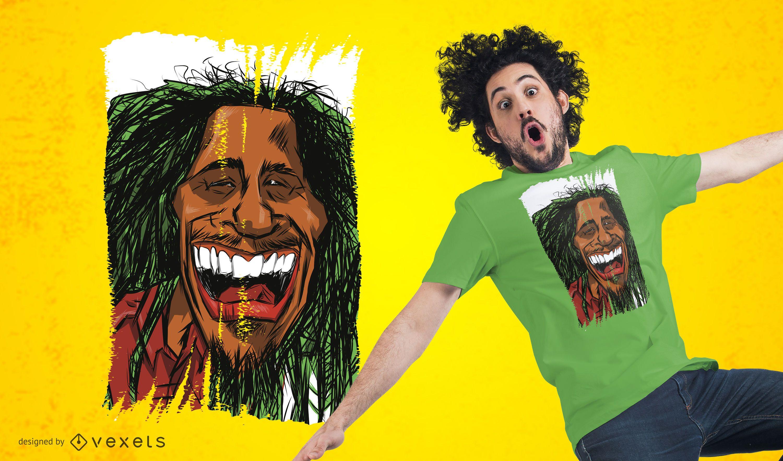 Rasta Man Cartoon Design de camiseta