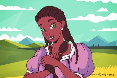 Niña africana, en, campo, ilustración