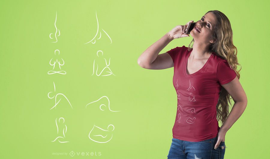 Diseño de camiseta de posturas de yoga