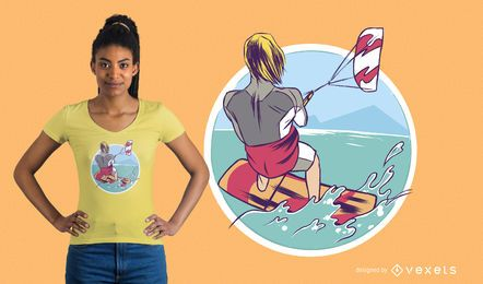 Diseño de camiseta de kitesurf