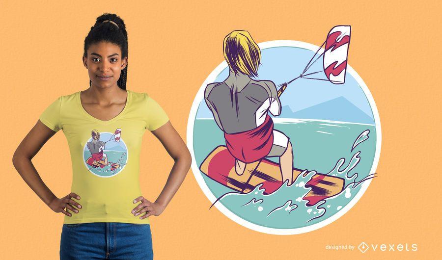 Diseño de camiseta de KiteSurfing