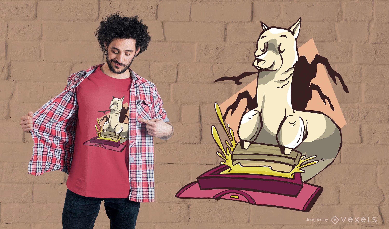 Diseño de camiseta de serigrafía Llama