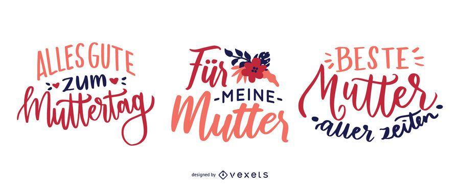 Diseño de letras del día de la madre alemana