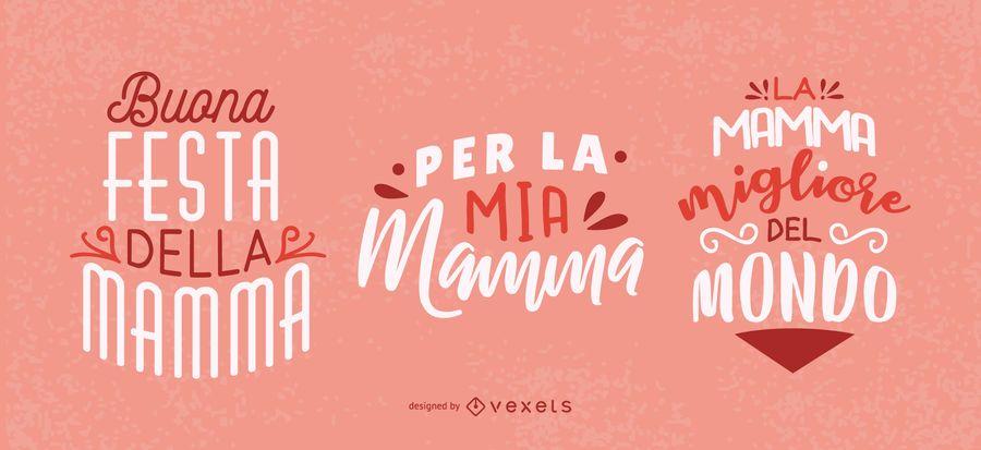 Diseño de letras italiano del día de la madre