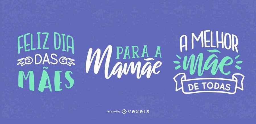 Diseño de letras portuguesas del día de la madre