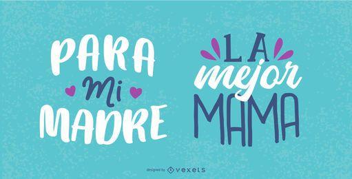 Conjunto de letras espanholas do dia das mães