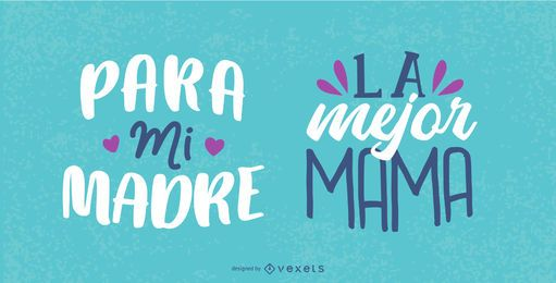 Set de letras en español para el día de la madre