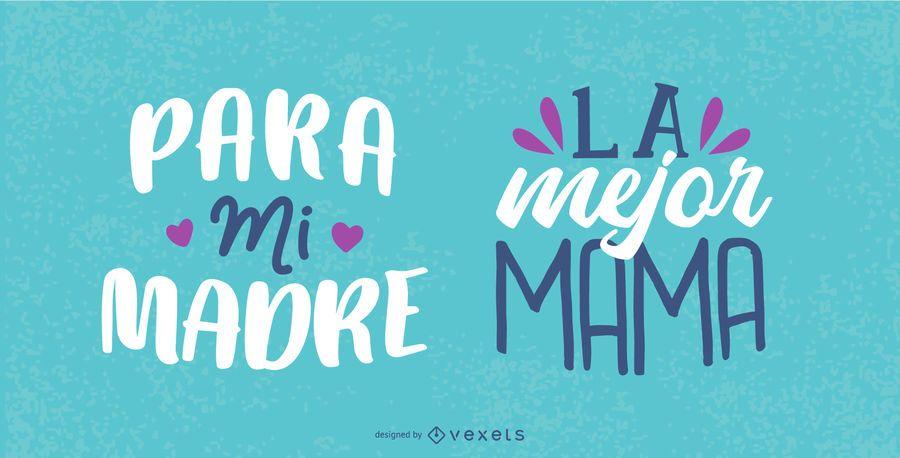 Conjunto de letras en español del día de la madre