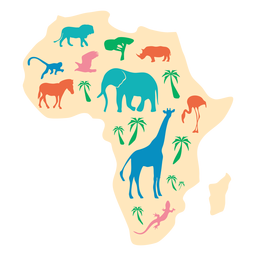 Africa animal map illustration