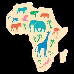 Ilustración de mapa de animales de África