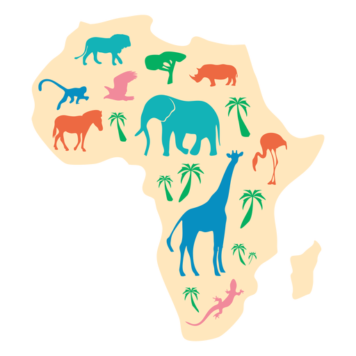 Africa animal map illustration Transparent PNG