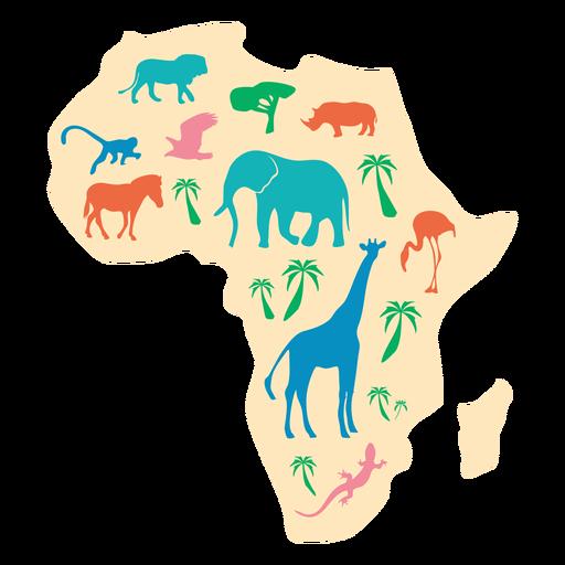 Ilustración de mapa animal de África Transparent PNG