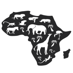 Silhueta de mapa de África