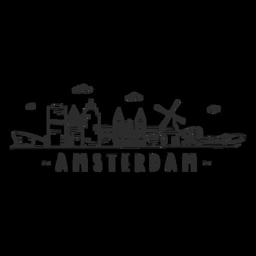 Amsterdam molino museo aeroport avión catedral horizonte etiqueta Transparent PNG