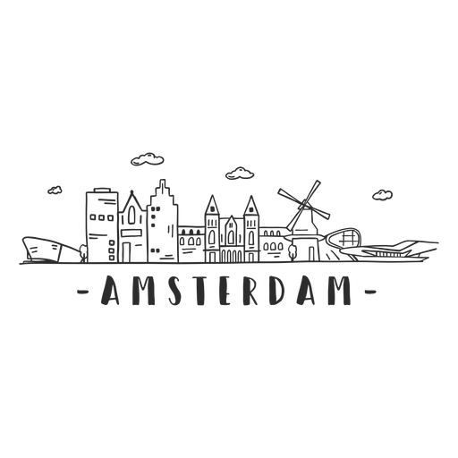 Amsterdam museum mill aeroport plane cathedral skyline sticker Transparent PNG