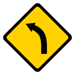 Arrow bend of road curve of road rhomb warning flat